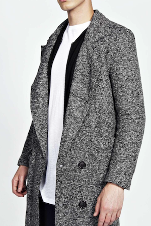 boohoo grey winter mens coat the chic geek