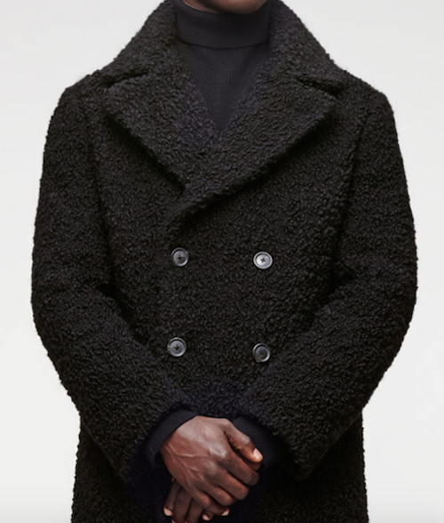 Jigsaw menswear black boucle coat must have