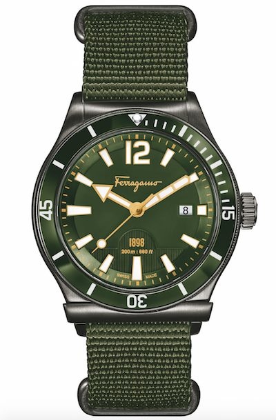 Ferragamo men's green 1898 watch