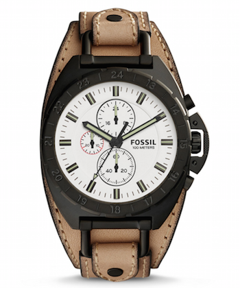fossil leather strap watch mens