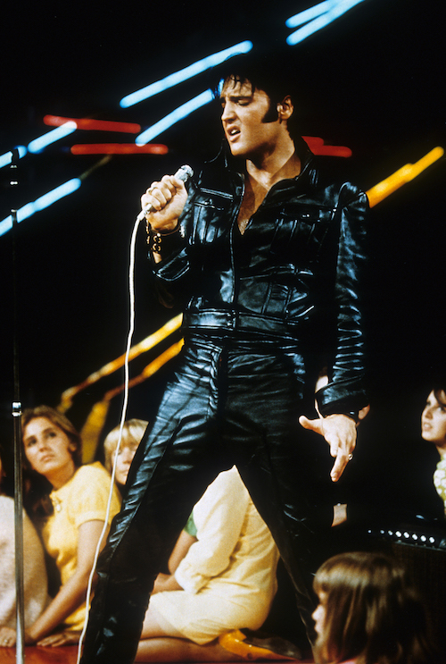 elvis black leather jumpsuit