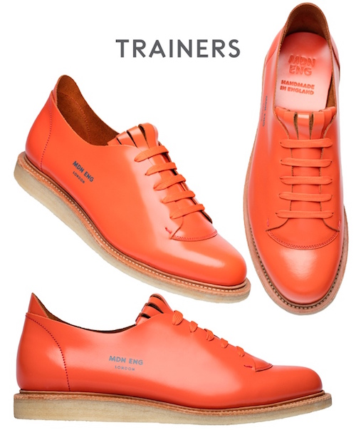 modern english shoes made in UK orange trainers