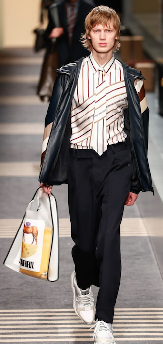 AW18 menswear trends Milan Fendi distorted stripes