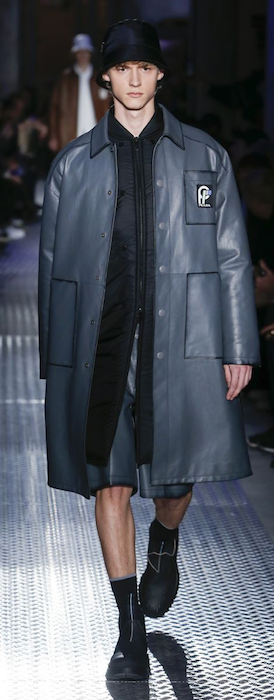 AW18 menswear trends Milan Prada shiny coat