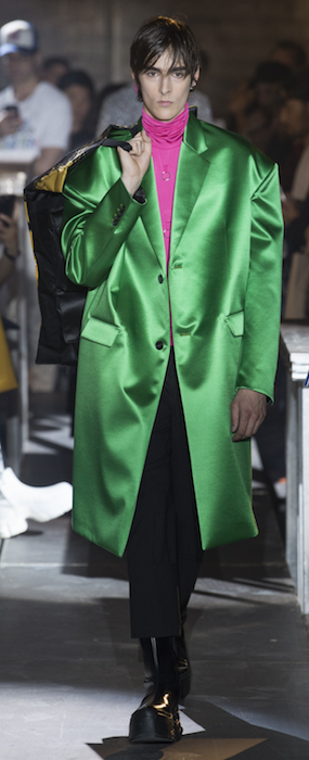 SS19 Trends Short Shorts Menswear Raf Simons Green Satin Coat