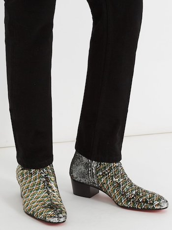 Men's sequins sequinned menswear boots Christian Louboutin