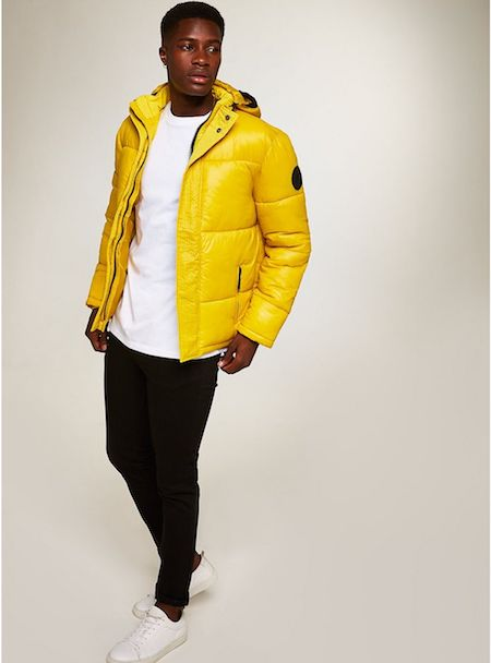 Yellow quilted men's coat jacket Topman