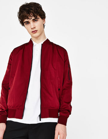 Get The Look Menswear Wild Wild Country Bershka red bomber jacket'