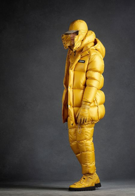 Yellow quilted men's coat jacket Z Zegna Space Odyssey