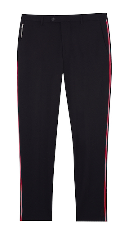 Burton trousers black menswear side stripe