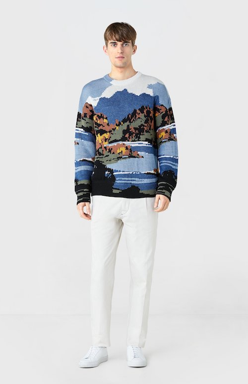 Postcard knit jumper Pringle of Scotland menswear