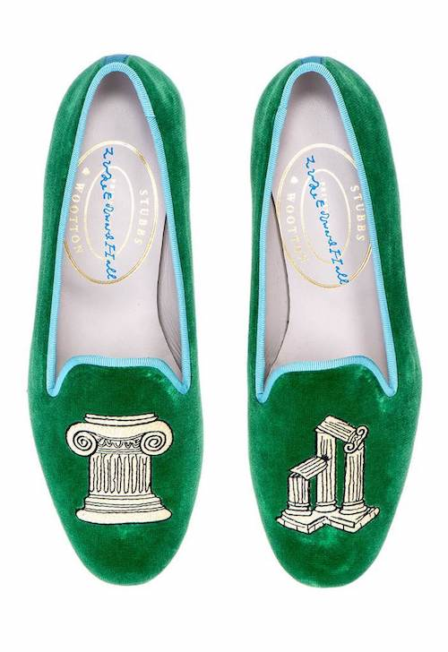 Green velvet slippers Luke Edward Hall Stubbs Wootton