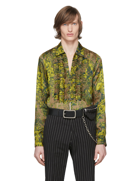 menswear product of the week dries van noten ssense green ruffle shirt