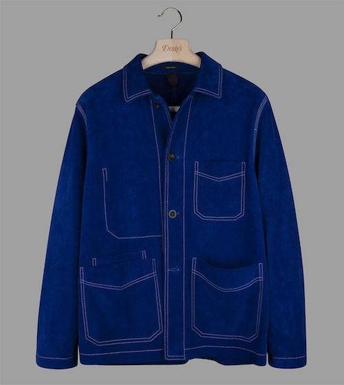 Drakes blue suede chore jacket Terence Conran blue