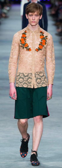 SS16 menswear trends milan gucci lace
