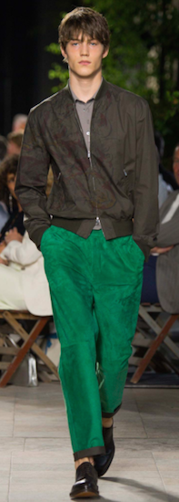 hermes green suede mens trousers
