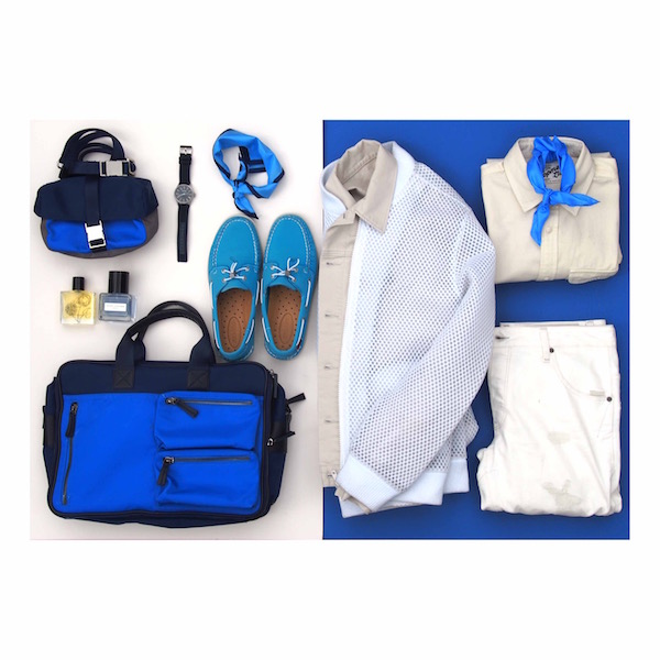 ootd flatlay blue white the chic geek