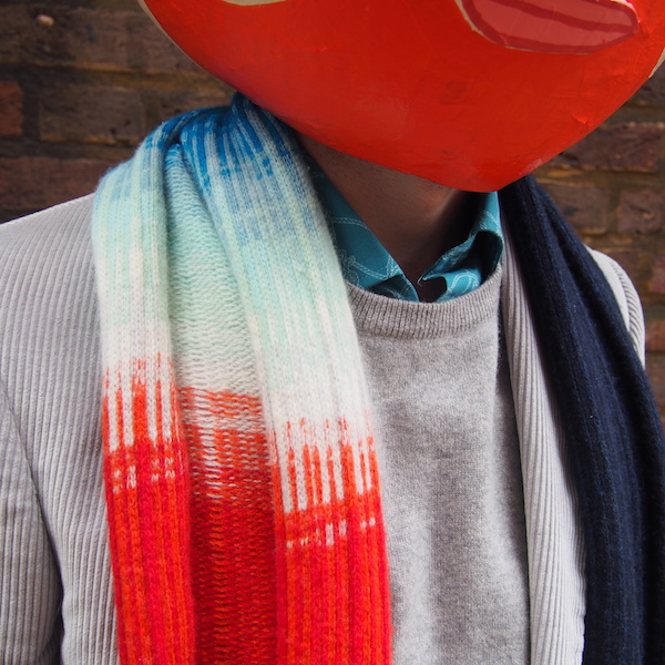 Ombre scarf red blue menswear Richard James