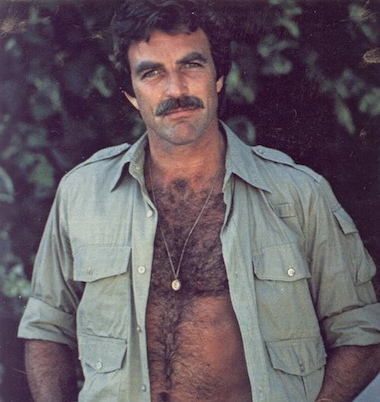 men's medallion necklaces silk shirts hairy chest magnum PI Tom Selleck