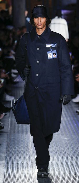 AW18 menswear trends Milan Prada badges coat