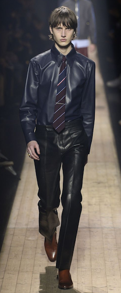 AW18 menswear trends Paris dunhill leather trousers business