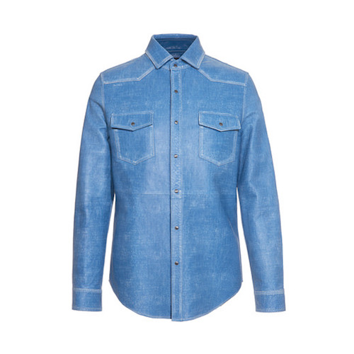 Leather denim shirt menswear hot list Tod's